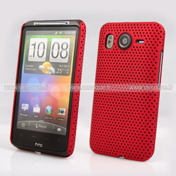 Coque HTC Desire HD G10 A9191 Filet Plastique Etui Rigide - Rouge