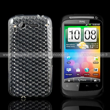 Coque HTC Desire S G12 S510e Diamant TPU Gel Housse - Claire