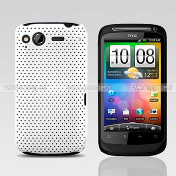 Coque HTC Desire S G12 S510e Filet Plastique Etui Rigide - Blanche