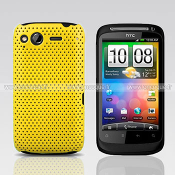 Coque HTC Desire S G12 S510e Filet Plastique Etui Rigide - Jaune