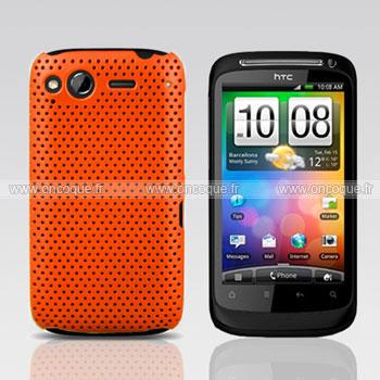 Coque HTC Desire S G12 S510e Filet Plastique Etui Rigide - Orange