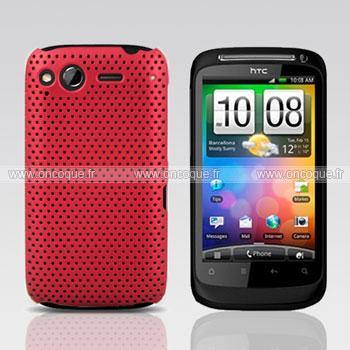 Coque HTC Desire S G12 S510e Filet Plastique Etui Rigide - Rouge