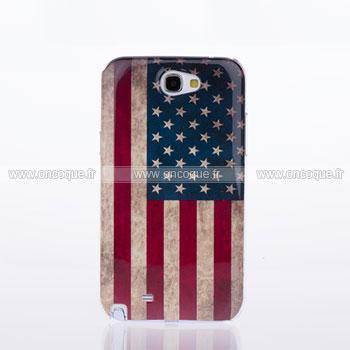 Coque Samsung Galaxy Note 2 N7100 Le drapeau des Etats-Unis Etui - Gris