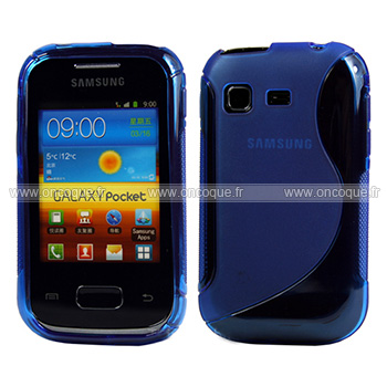 Coque Samsung Galaxy Pocket S5300 S-Line Silicone Gel Housse - Bleu