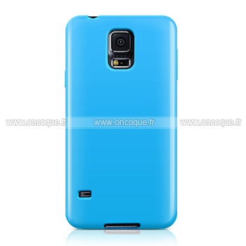 Coque samsung galaxy s5 i9600 silicone gel housse bleue ciel for Housse samsung s5