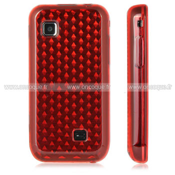 Coque samsung s5750 wave 575 diamant tpu gel housse rouge for Housse samsung wave