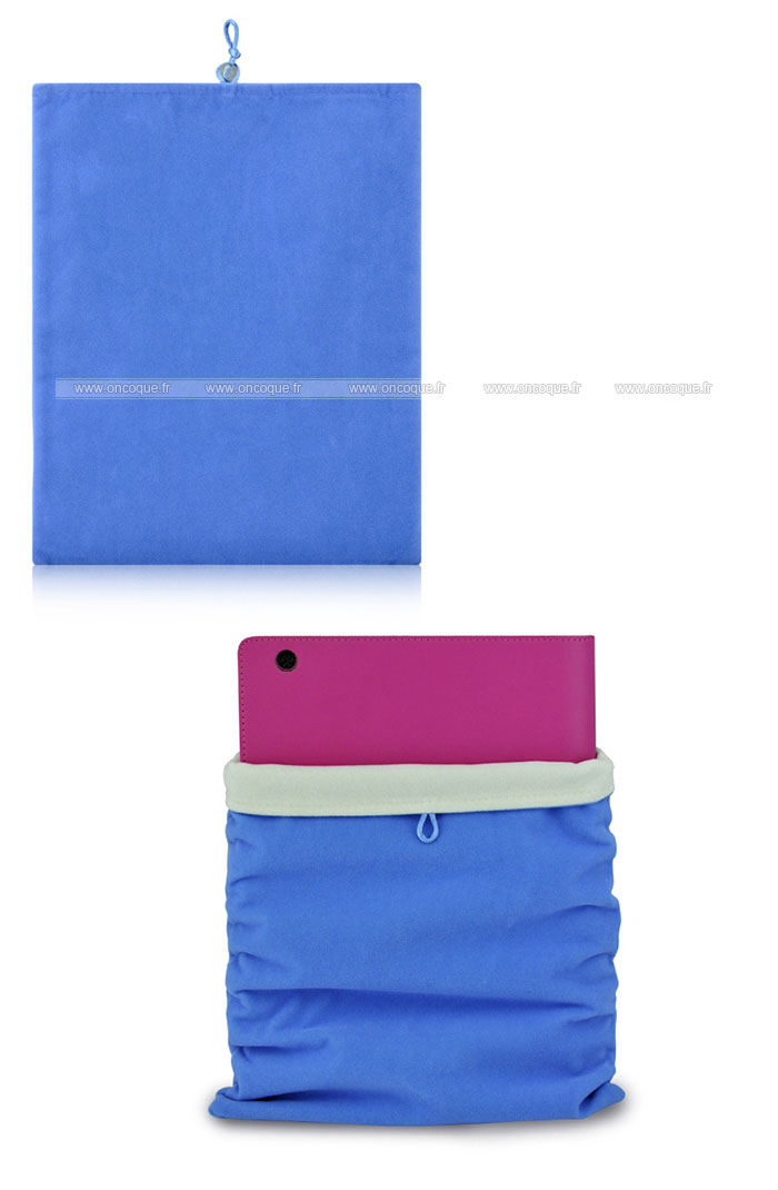 coque apple ipad 2 housse pochette tissu bleu. Black Bedroom Furniture Sets. Home Design Ideas