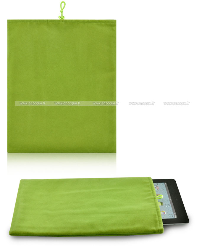 coque apple ipad 2 housse pochette tissu verte. Black Bedroom Furniture Sets. Home Design Ideas