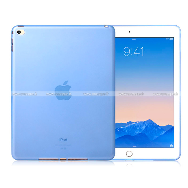 Coque apple ipad air 2 silicone transparent housse bleue for Housse neoprene ipad air
