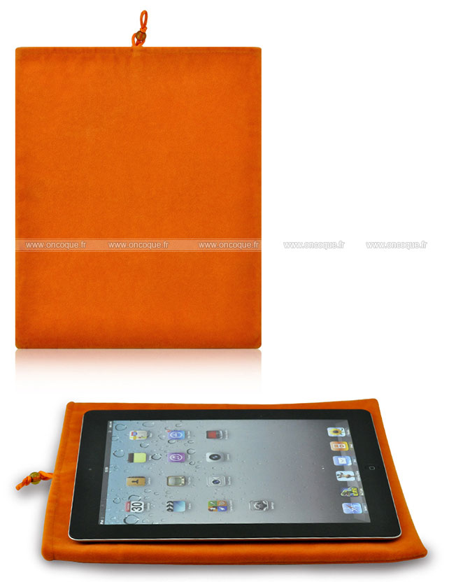 coque apple ipad air housse pochette tissu orange