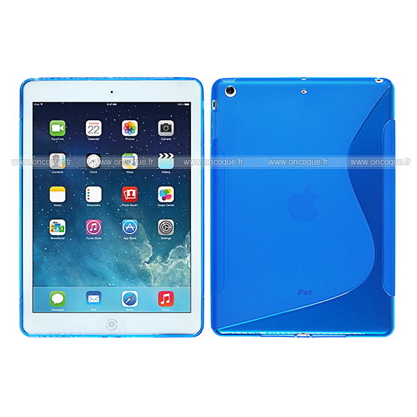 Coque apple ipad air s line silicone gel housse bleu for Housse neoprene ipad air