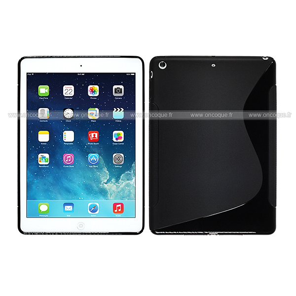 Coque apple ipad air s line silicone gel housse noire for Housse neoprene ipad air