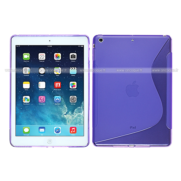 Coque apple ipad air s line silicone gel housse pourpre for Housse neoprene ipad air