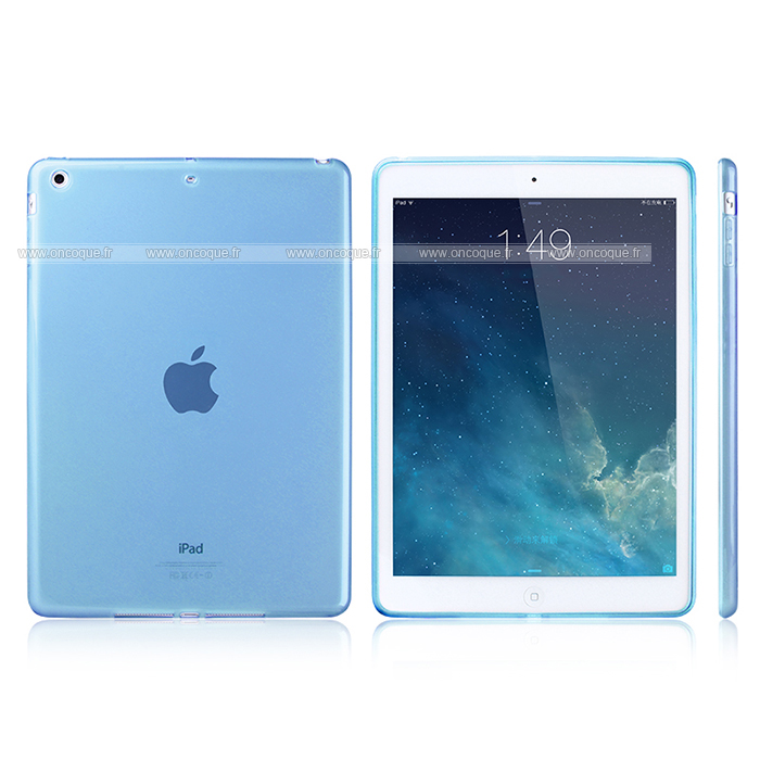 Coque apple ipad air silicone transparent housse bleue ciel for Housse neoprene ipad air