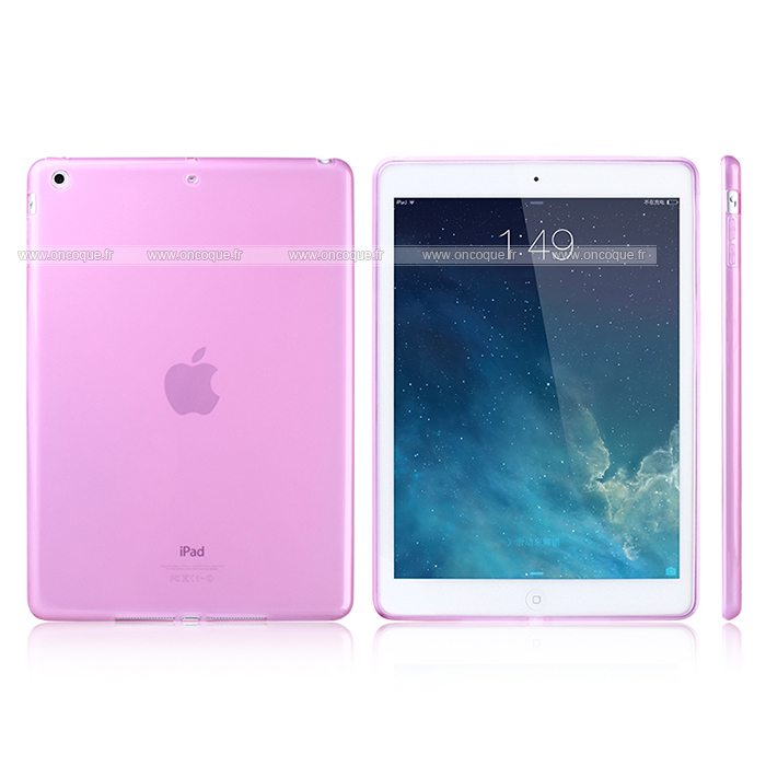 Coque apple ipad air silicone transparent housse rose for Housse neoprene ipad air