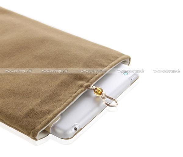 coque apple ipad mini 2 housse pochette tissu brown. Black Bedroom Furniture Sets. Home Design Ideas