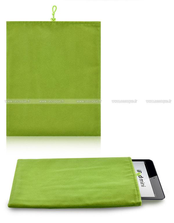 coque apple ipad mini 2 housse pochette tissu verte. Black Bedroom Furniture Sets. Home Design Ideas