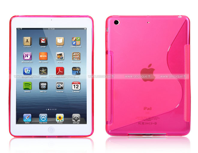 Coque apple ipad mini s line silicone gel housse rose chaud for Housse i pad mini