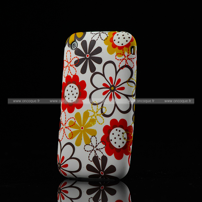 Coque apple iphone 3g 3gs fleurs silicone housse gel brown for Housse iphone 3gs