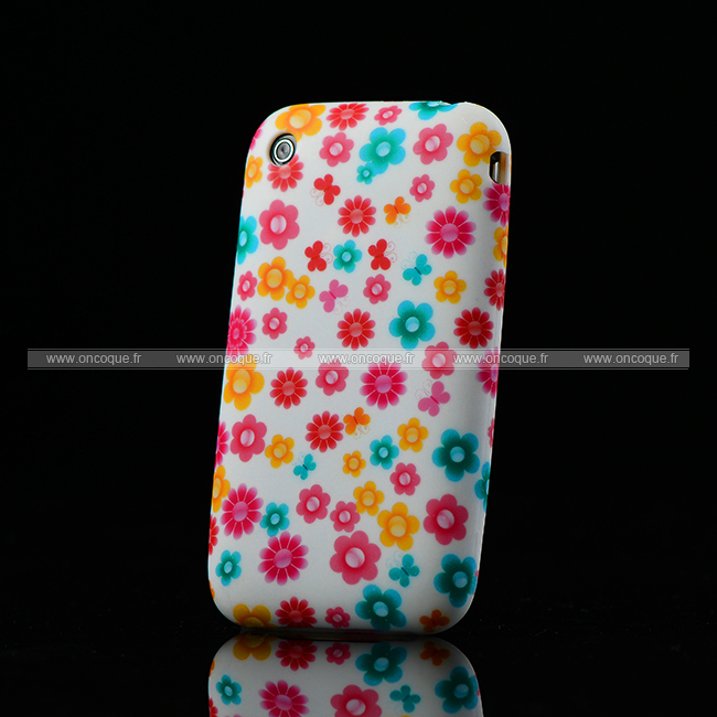 Coque apple iphone 3g 3gs fleurs silicone housse gel rose for Housse iphone 3gs