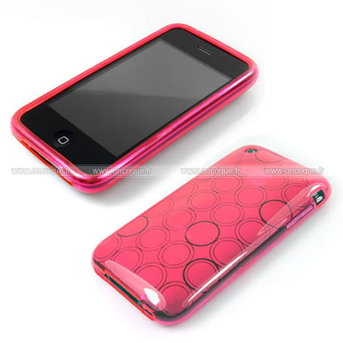 coque apple iphone 3g cercle gel tpu housse rose