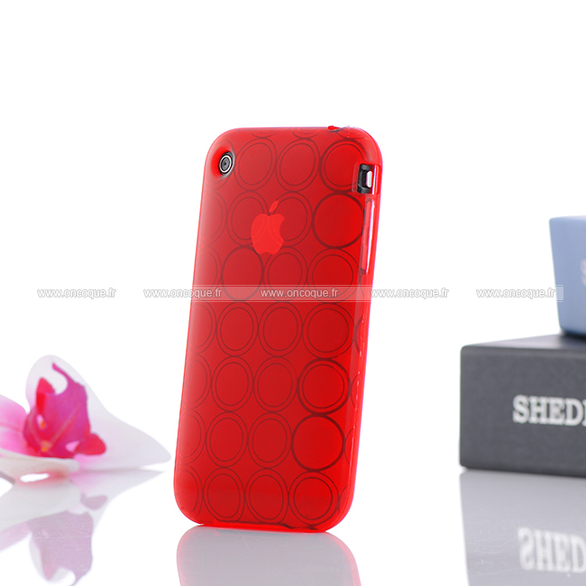 Coque apple iphone 3g cercle gel tpu housse rouge for Housse iphone 3gs
