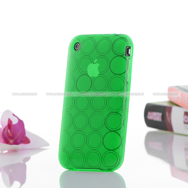 Coque apple iphone 3g cercle gel tpu housse verte for Housse iphone 3gs