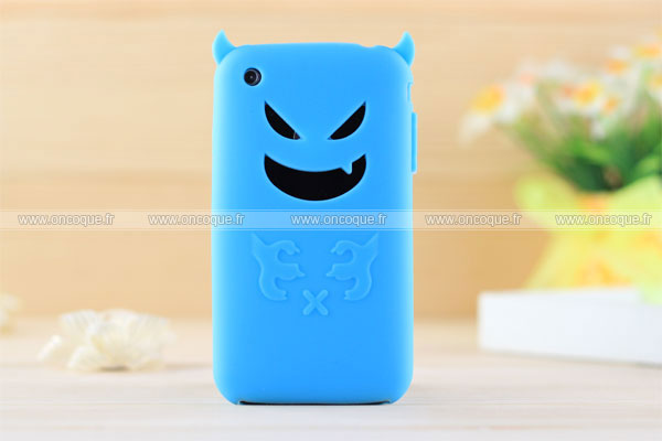 Coque apple iphone 3g demon silicone housse gel bleu for Housse iphone 3gs