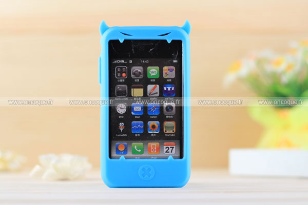 Coque apple iphone 3g demon silicone housse gel bleu for Housse iphone 3g