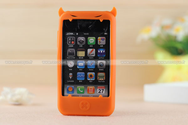 Coque apple iphone 3g demon silicone housse gel orange for Housse iphone 3gs