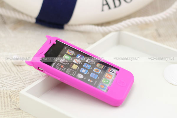 Coque apple iphone 3g demon silicone housse gel rose chaud for Housse iphone 3gs