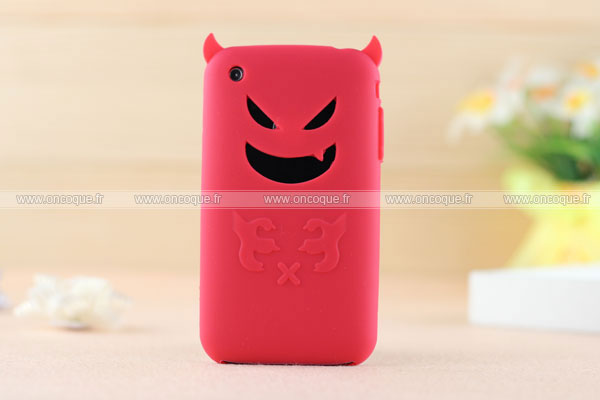 Coque apple iphone 3g demon silicone housse gel rouge for Housse iphone 3gs