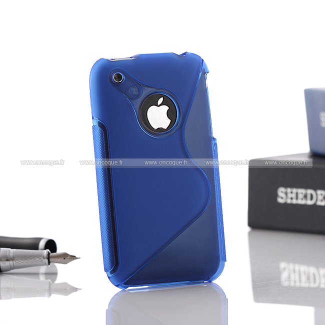 Coque apple iphone 3g s line silicone gel housse bleu for Housse iphone 3gs