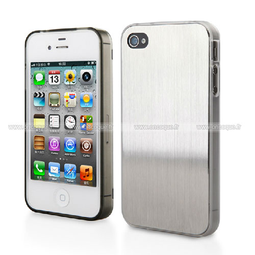 coque apple iphone 4 aluminium metal plated housse rigide blanche