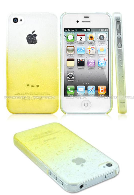 coque apple iphone 4 degrade housse rigide jaune