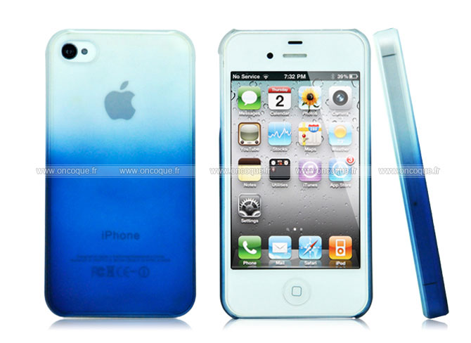 coque apple iphone 4s degrade housse rigide bleu