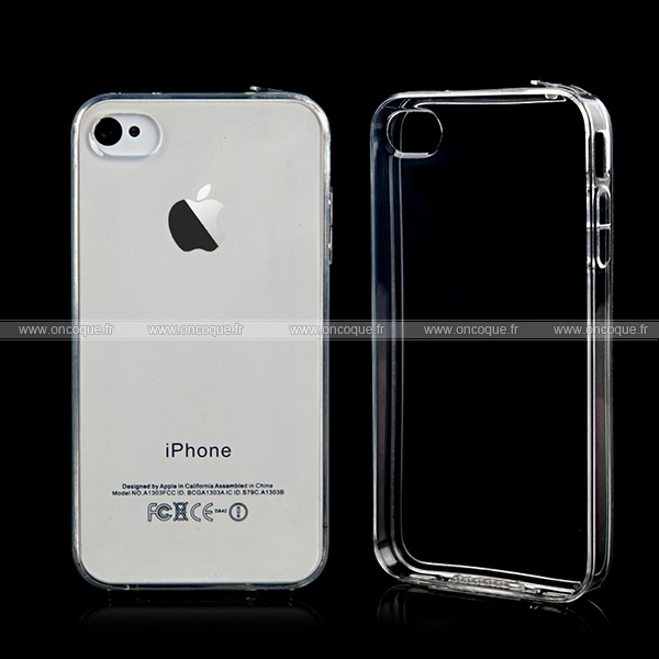 Coque apple iphone 4s transparent gel tpu housse blanche for Housse iphone 4s