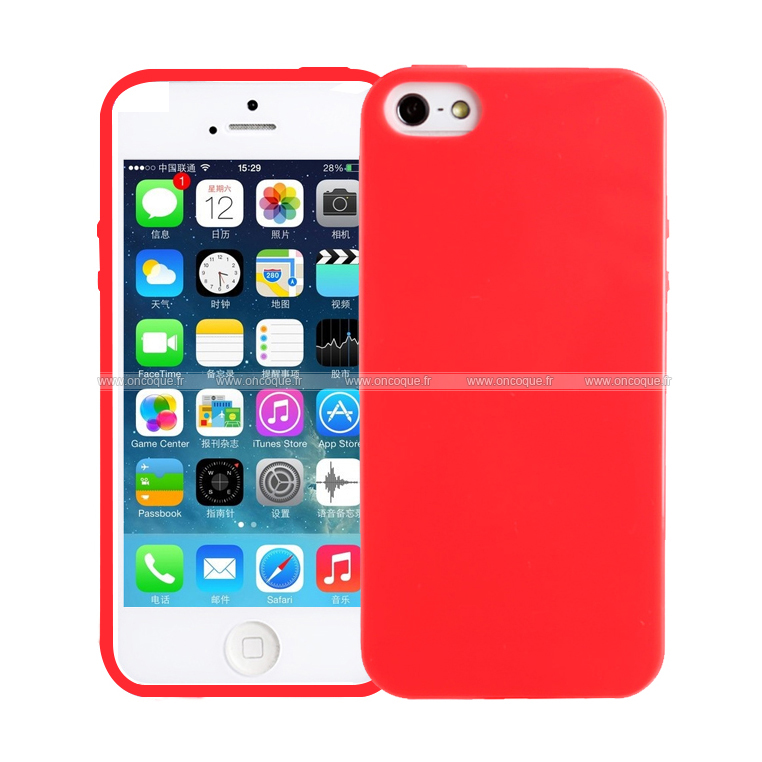 coque apple iphone 5 silicone gel housse rouge. Black Bedroom Furniture Sets. Home Design Ideas