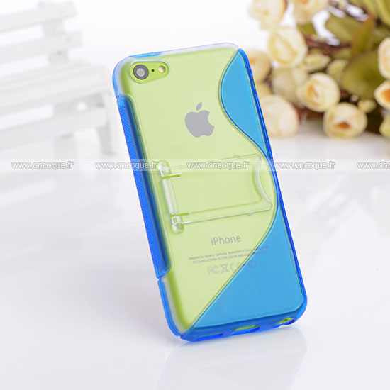 Coque apple iphone 5c s line support housse bleu for Housse iphone 5c