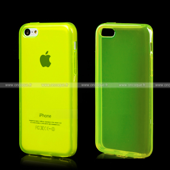 coque apple iphone 5c silicone transparent housse verte