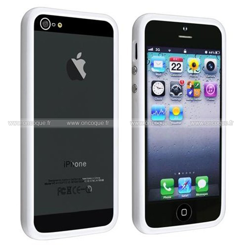 coque apple iphone 5s cadre silicone gel housse blanche. Black Bedroom Furniture Sets. Home Design Ideas