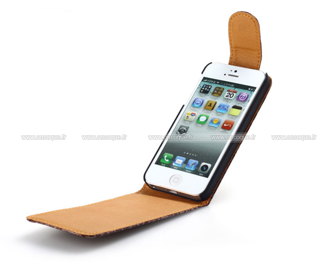 coque apple iphone 5s etui en cuir housse cover brown. Black Bedroom Furniture Sets. Home Design Ideas