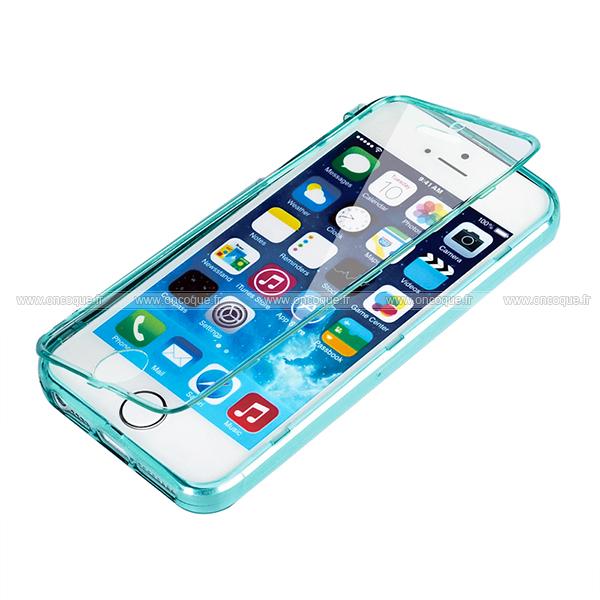 coque apple iphone 5s flip silicone gel housse bleu. Black Bedroom Furniture Sets. Home Design Ideas