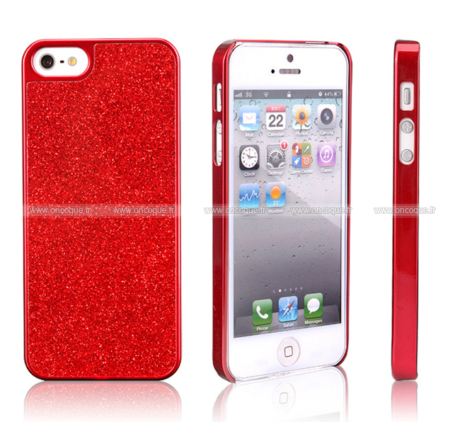 coque apple iphone 5s metal plated bling etui rigide rouge. Black Bedroom Furniture Sets. Home Design Ideas