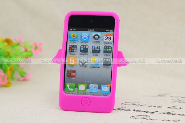 Coque apple ipod touch 4 ange silicone housse gel rose chaud for Housse ipod touch
