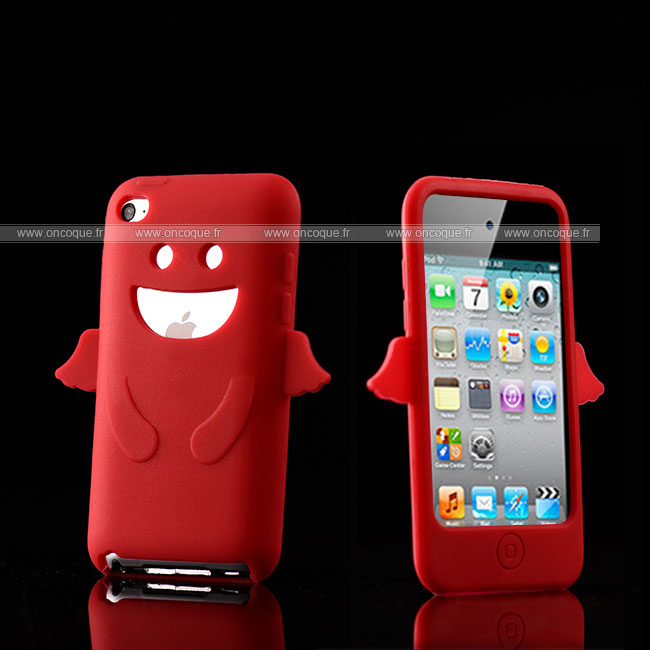 Coque apple ipod touch 4 ange silicone housse gel rouge for Housse ipod touch
