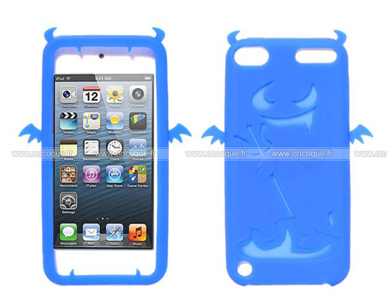 Coque apple ipod touch 5 demon silicone housse gel bleue for Housse ipod touch