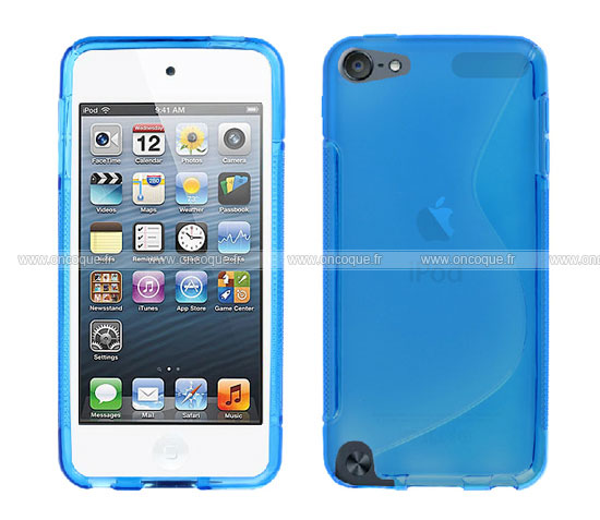Coque apple ipod touch 5 s line silicone gel housse bleu for Housse ipod touch