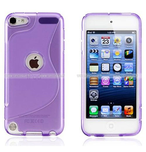 Coque apple ipod touch 5 s line silicone gel housse pourpre for Housse ipod touch