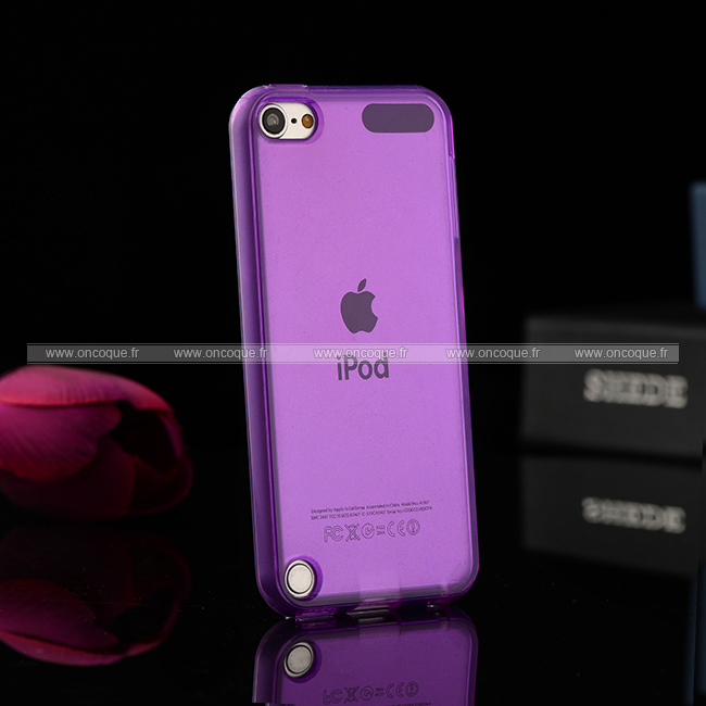 coque apple ipod touch 5 silicone transparent housse pourpre